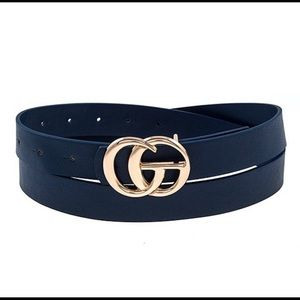 Navy Blue Trendy GG Belt